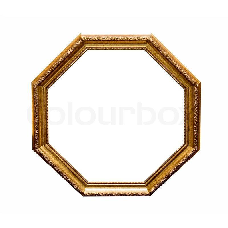 Stock image of 'Antique wooden hexahedron frame isolated on a white background'