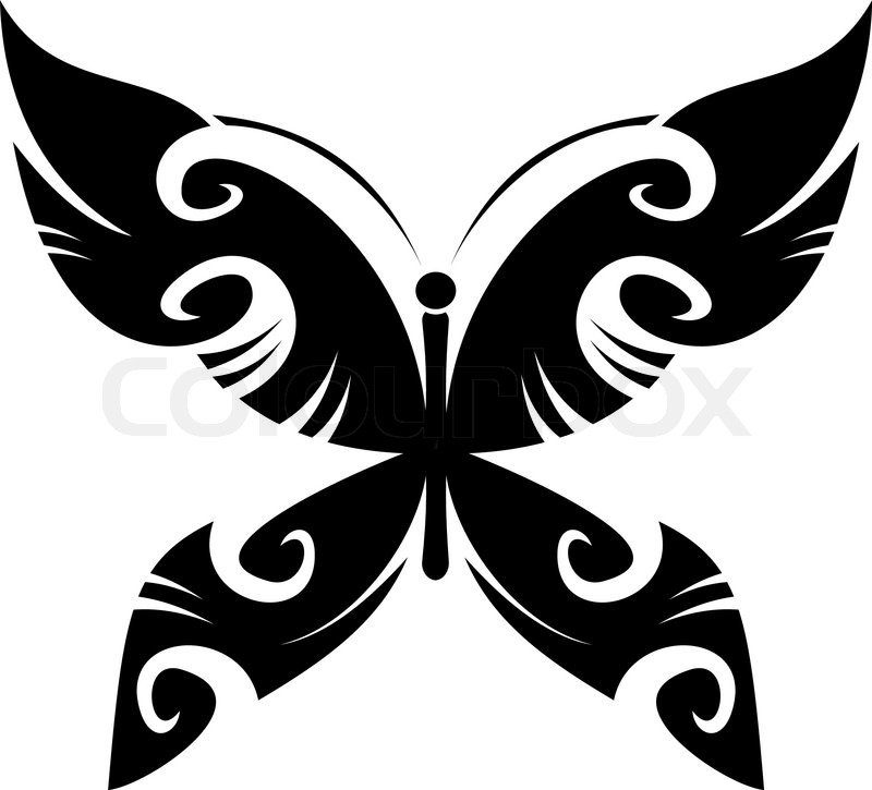 3ee5a8e319c68 Isolated butterfly tattoo in tribal ... | Stock vector | Colourbox