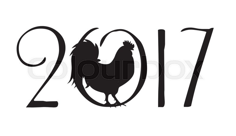 Vector Illustration Of Rooster Symbol Of 2017 Year On The Chinese