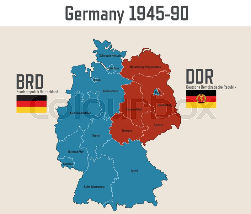 Map Of Germany Cold War.Germany Cold War Map With Flags Of Editorial Vector Colourbox