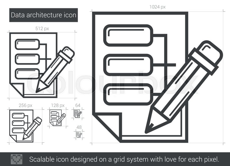 Data Architecture Vector Line Icon Isolated On White Background For Infographic Website Or App Scalable Designed A