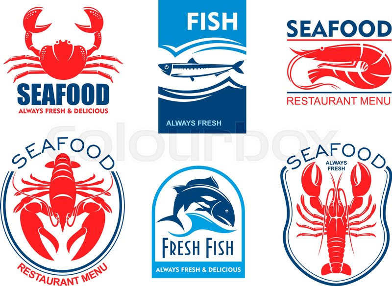 Seafood Products Icons Vector Emblems Set For Product Sticker