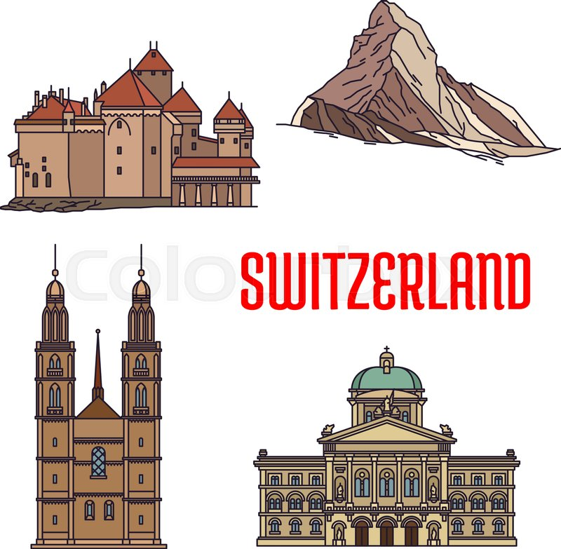 Historic Architecture Buildings Of Switzerland Detailed Icons Of