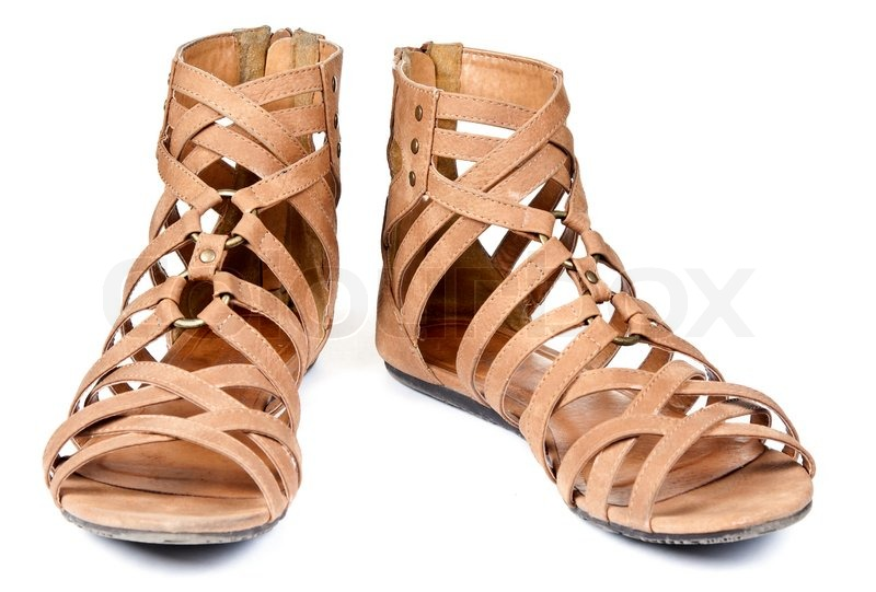 Brown Sandals Women Shoes Isolated On White Background