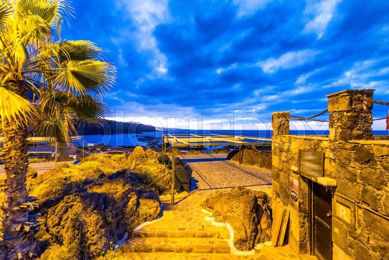 Pools of Garachico at night, Tenerife, stock photo