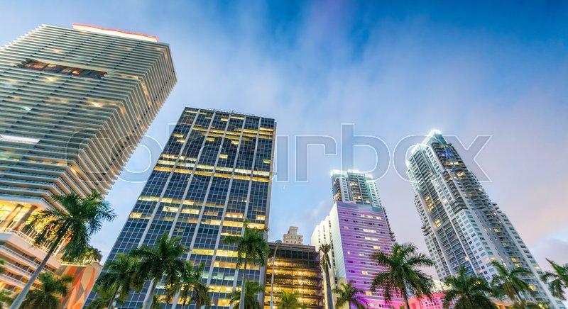 Tall skyscrapers of Downtown Miami - Florida - USA, stock photo
