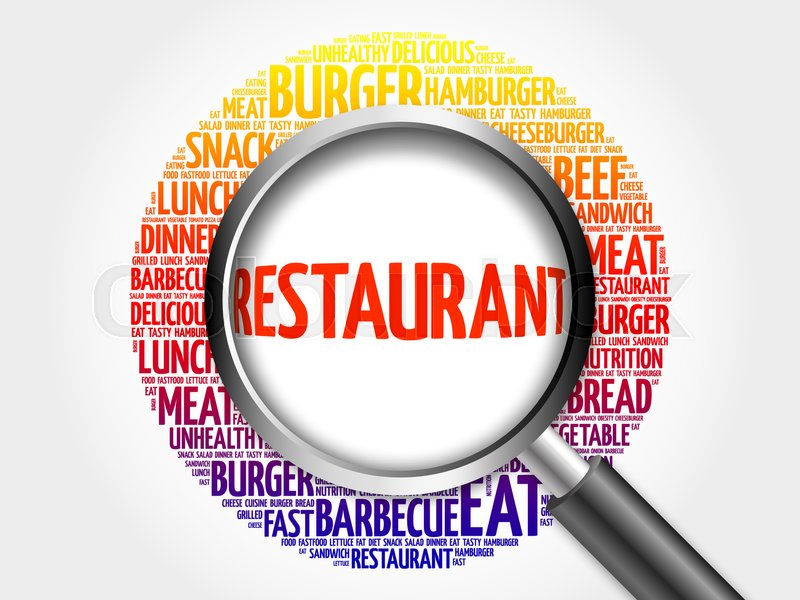 restaurant word cloud with magnifying glass food concept 3d
