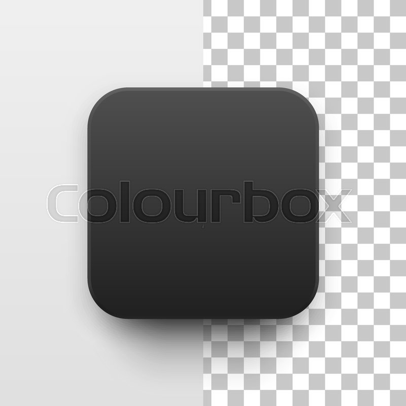 Black abstract app icon, blank button template with realistic shadow ...