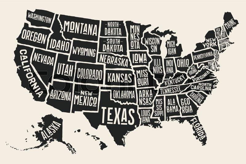Poster Map Of United States Of America With State Names Black And - Map united states black and white