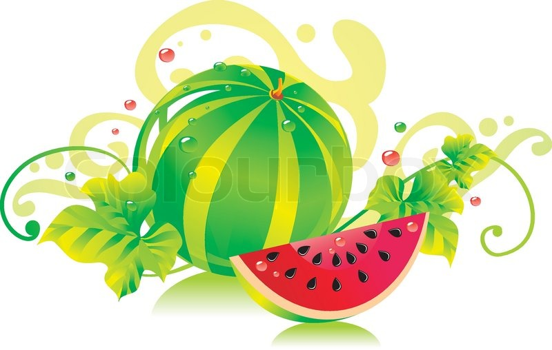 watermelon with a water melon slice and leaves stock vector rh colourbox com Strawberry Vector Strawberry Vector