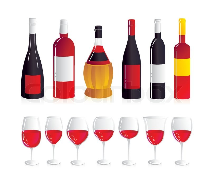 Wine set six wine bottles and seven glasses for red wine for Red glass wine bottles suppliers