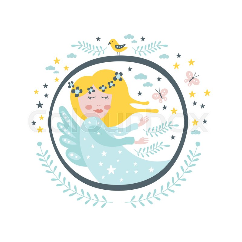 Magic Fairy Fairy Tale Character Girly Sticker In Round Frame In ...