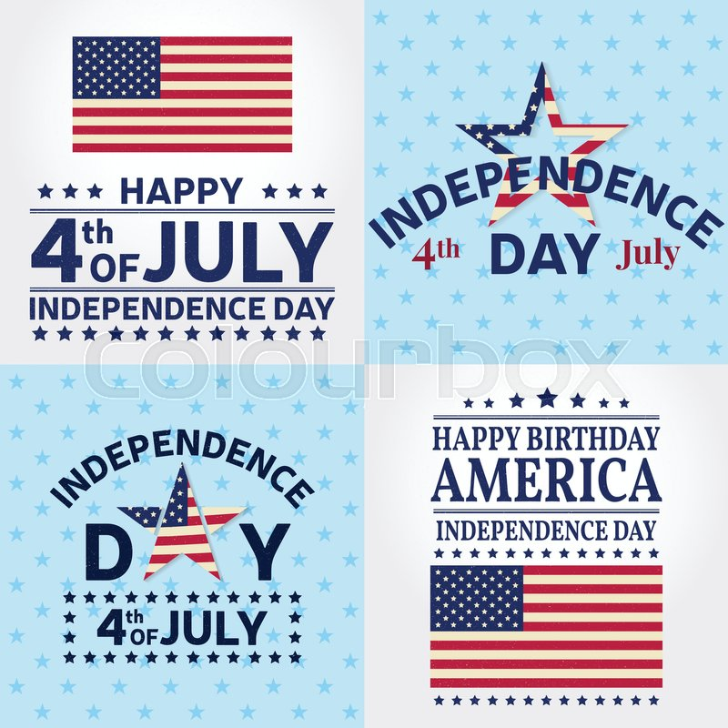Set Of Independence Day Greeting Cards Flyers Posters Patriotic Banner For Website Template Vector Illustration