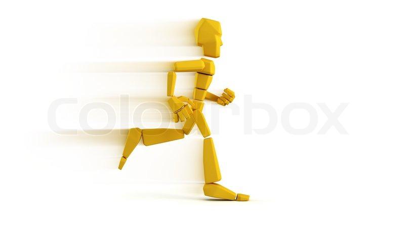 Isoleret symbolsk løbende mand | stock foto | Colourbox