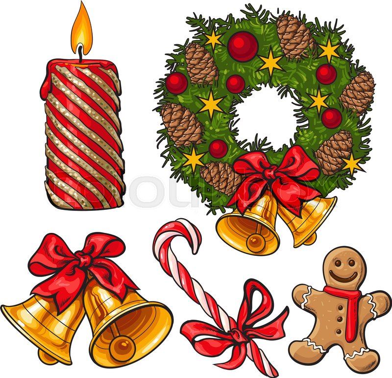 Set of traditional Christmas decoration objects, cartoon vector ...