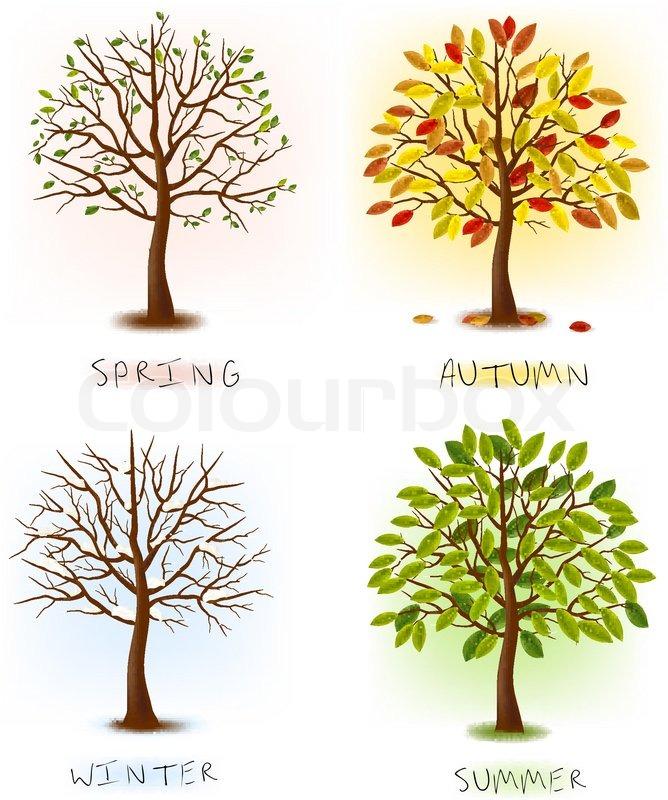 c0bcf4d7 Stock vektor af 'Fire årstider - forår , sommer , efterår, vinter .'