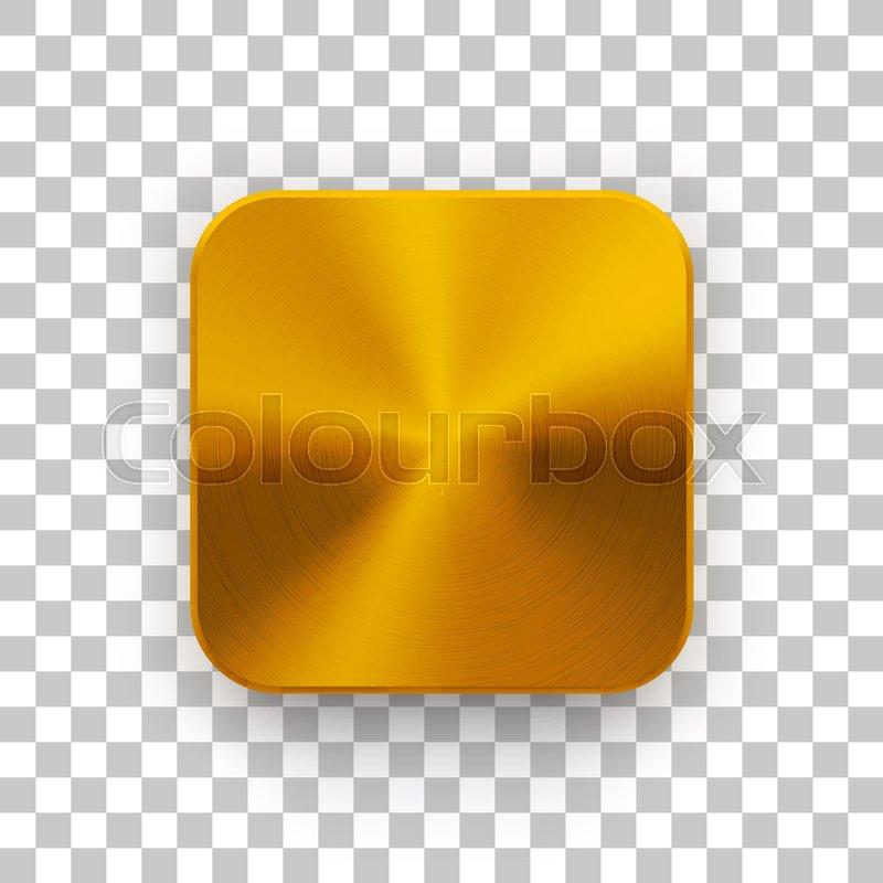 Gold blank app icon, technology button     | Stock vector | Colourbox