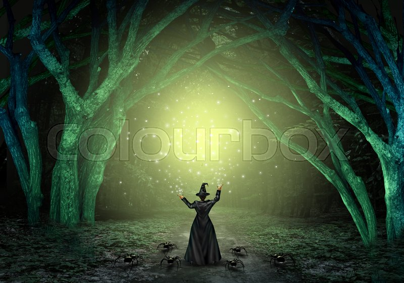 magical witch casting a magic spell in a scary dark mystery forest as a wicked sorcerer creating a glittering green glow as a halloween background with text