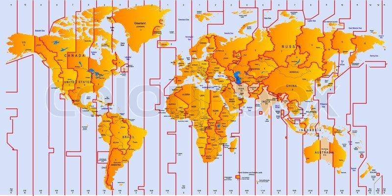 Timezone Map Vector Color Stock Vector Colourbox