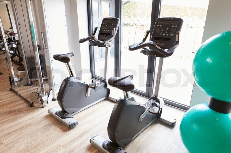 Empty Gym With Exercise Equipment, stock photo