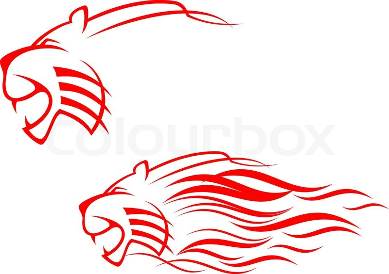 Red Tiger Sign Isolated On White As Symbol Of Danger Stock Vector