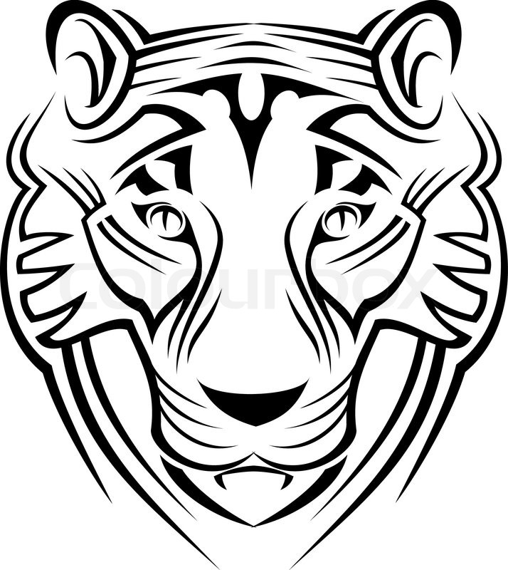 Tiger Sign Isolated On White As A Symbol Of Wildlife Stock Vector