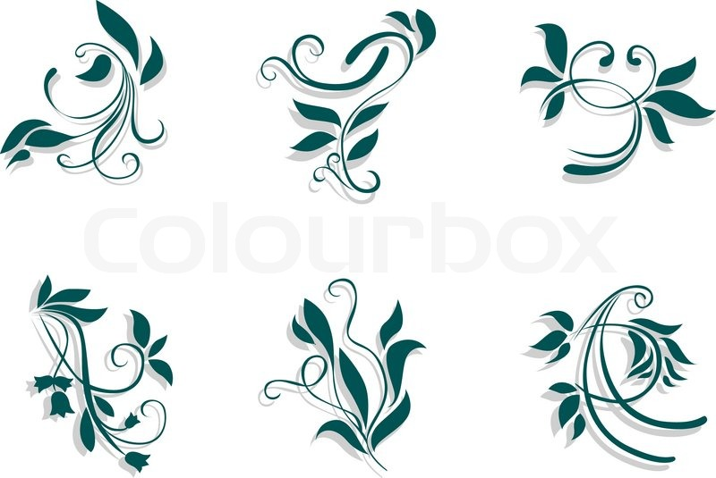 Floral Decorations floral decorations isolated on white background | stock vector