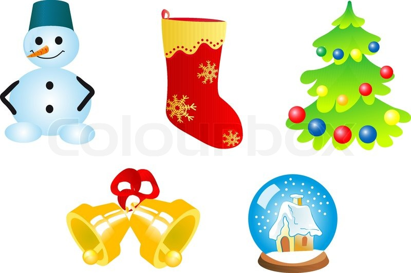 Five Christmas Icons And Symbols For Design Stock Vector Colourbox