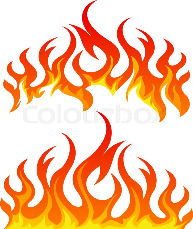 fire flames vector set on white background stock vector colourbox rh colourbox com vector flame design vector frames and borders free