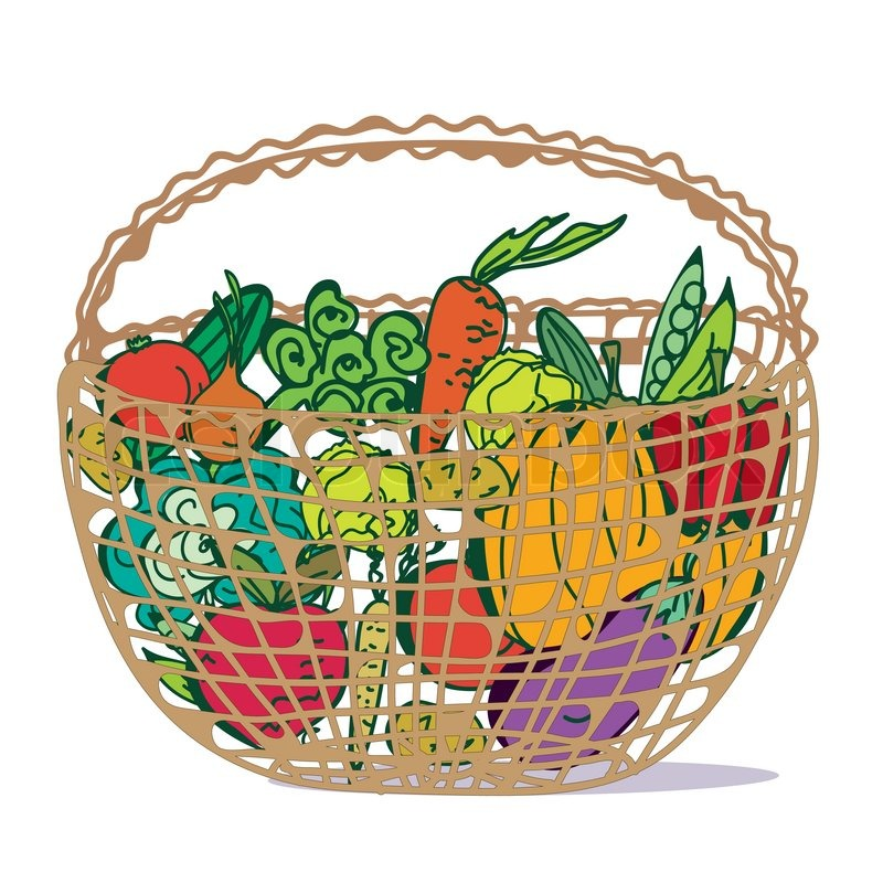 basket with fresh vegetables cartoon stock vector