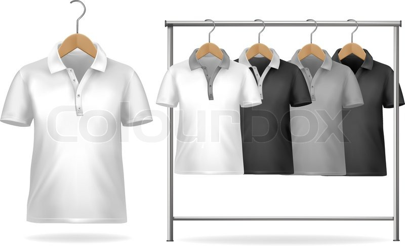 Black and white t shirt design template clothes hanger with black and white t shirt design template clothes hanger with shirts vector illustration vector pronofoot35fo Choice Image