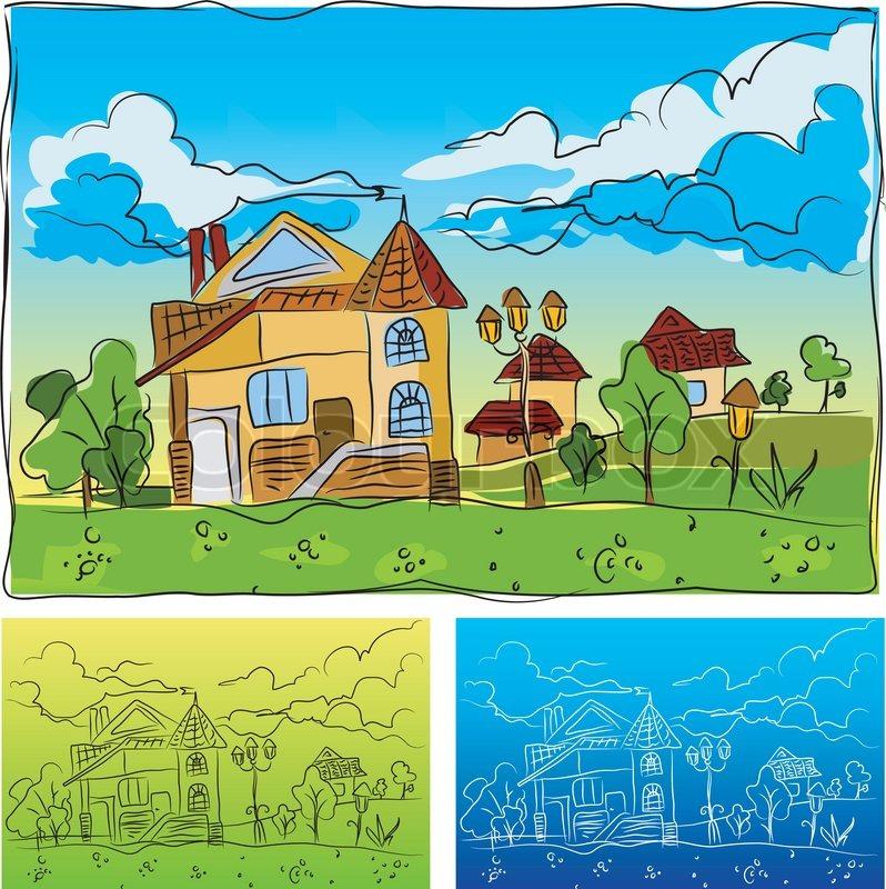 Landschaft Mit Dem Haus Fur Kinder Vektorgrafik Colourbox