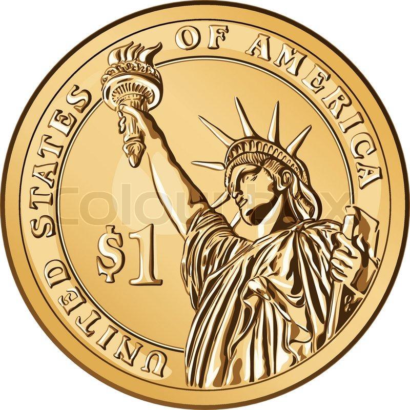 Amerikanske penge , én dollar mønt ... | Stock vektor | Colourbox