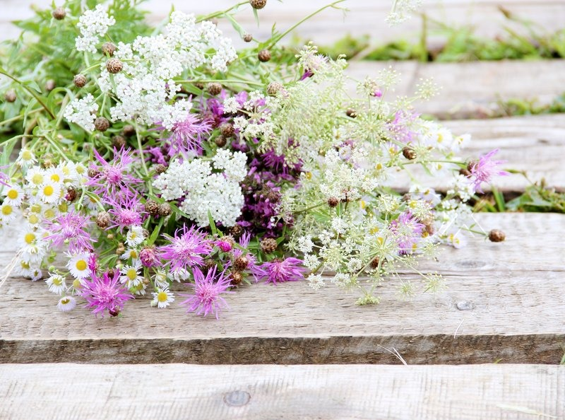 Bunch Of Flowers Over Wood Rustic Style Image