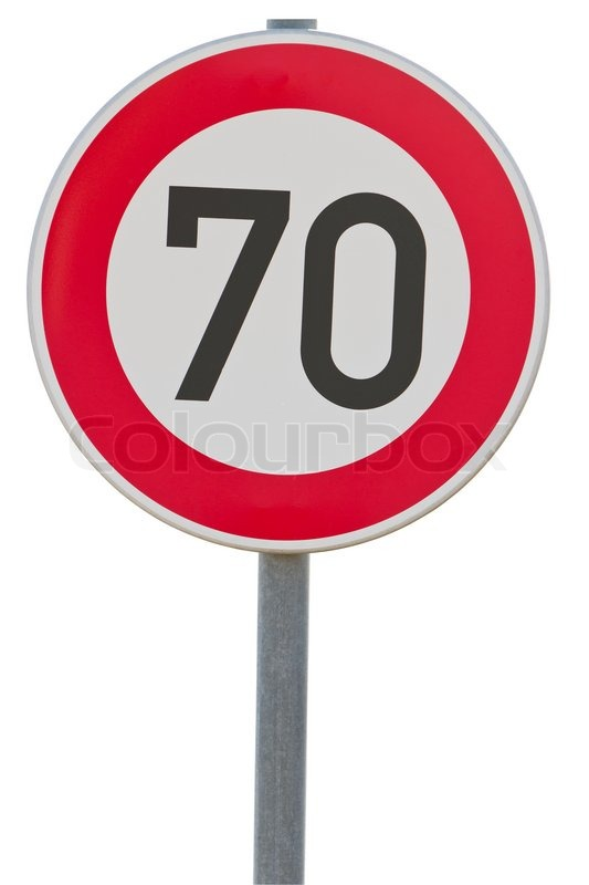 german speed limit sign 70 km h isolated on white with. Black Bedroom Furniture Sets. Home Design Ideas