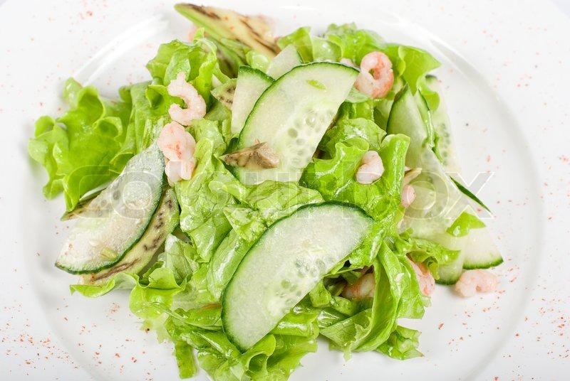 Rejer Salat Med Agurk Og Avocado Stock Foto Colourbox