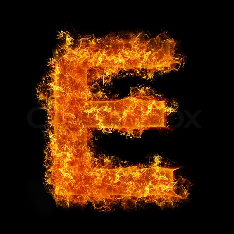 Fire letter E on a black background | Stock Photo | Colourbox