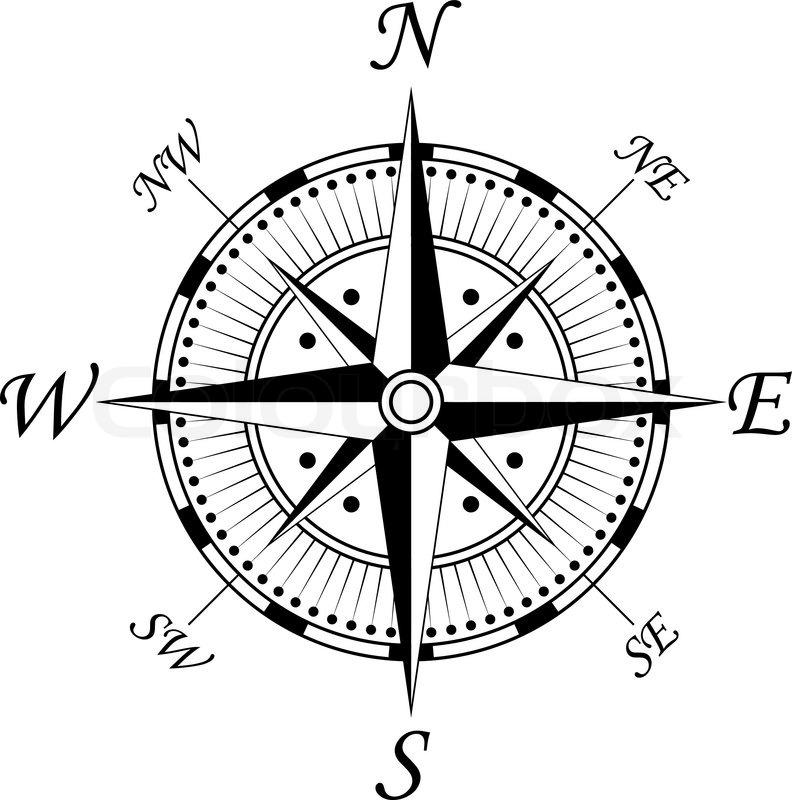 Kompass Symbol Auf Wei&223em F&252r Design Isoliert  Stock