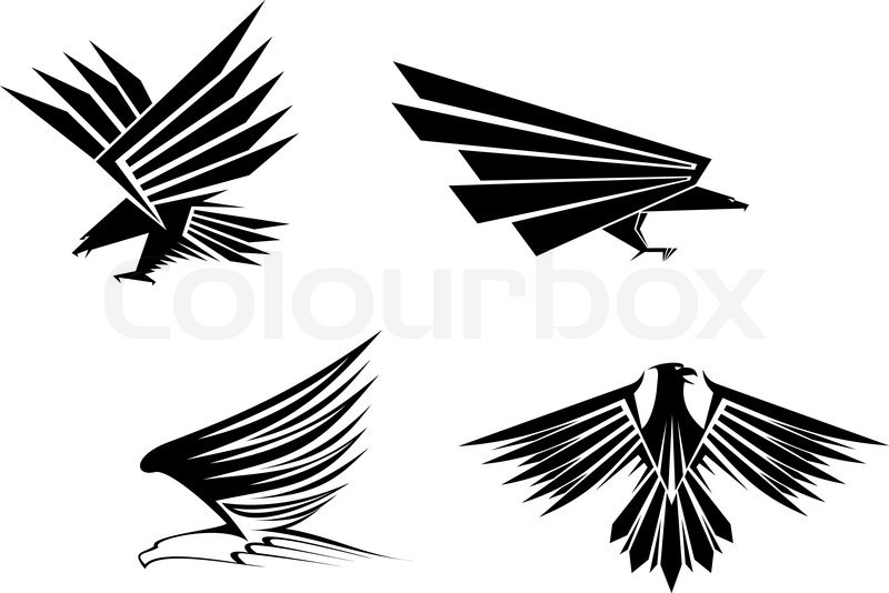 Eagle Symbol Isolated On White For Tattoo Design Stock Vector