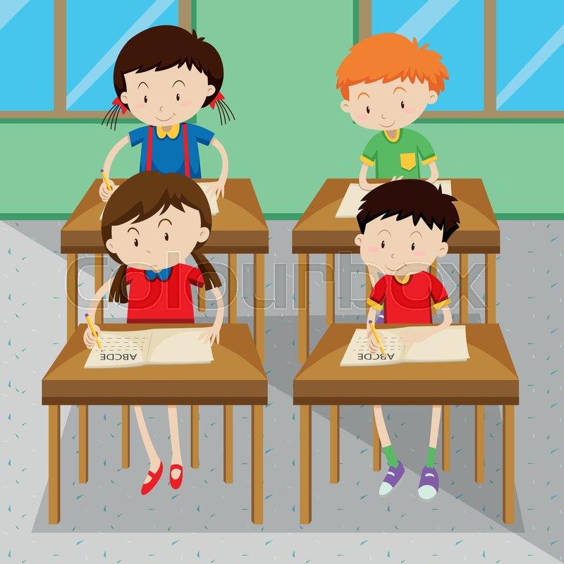 Schulklasse im unterricht clipart  Student, schulzimmer, klassenzimmer | Vektorgrafik | Colourbox