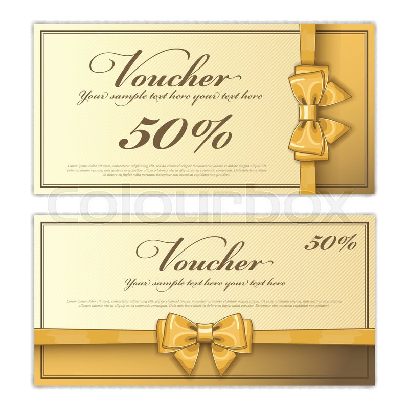 Gift discount voucher template vector layout special offer coupon gift discount voucher template vector layout special offer coupon business voucher layout with gift bow gold vintage style stock vector colourbox cheaphphosting Gallery