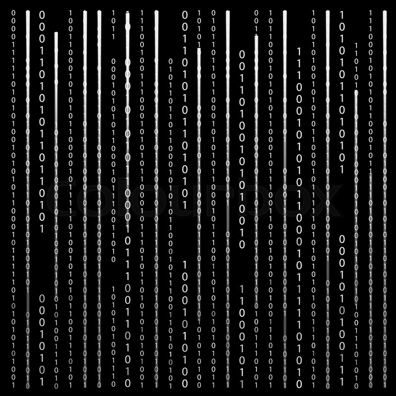 Stock image of 'Black and White. Algorithm Binary Code with digits on background, encoding, decryptiondata code, matrix.  Illustration. '