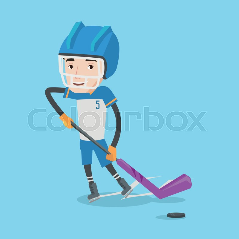 Young ice hockey player skating on ice rink. Ice hockey player with a stick. Sportsman playing ice hockey. Vector flat design illustration. Square layout, vector