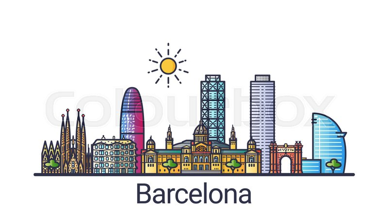 Banner Of Barcelona City Skyline In Flat Line Trendy Style
