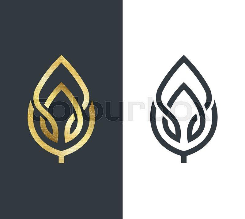 Vector leaf, golden shape and ...