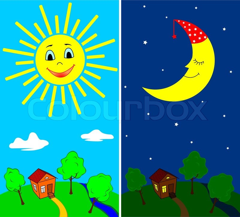 Countryside landscape by day and by night  Vector  Colourbox
