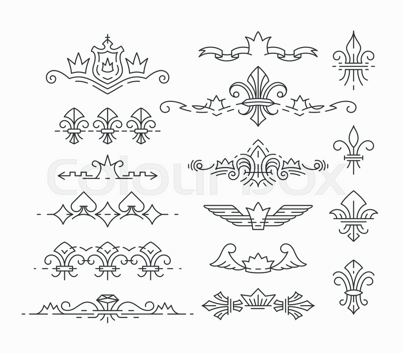 Set Of Line Empty Royal Symbols Fleur De Lis And Crown Headers