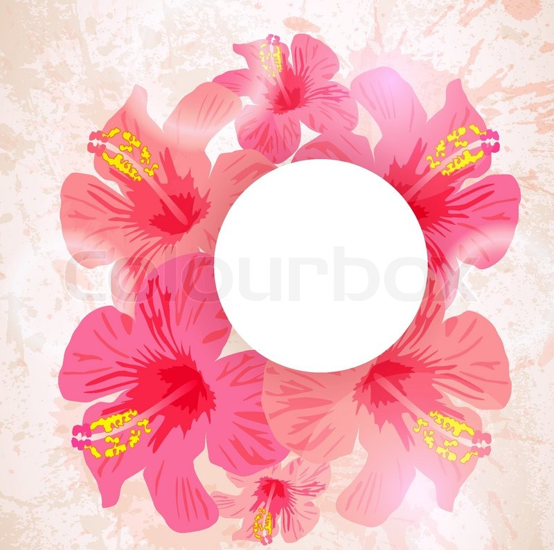 Abstract Tropical Background Hibiscus Flower For Design Vector