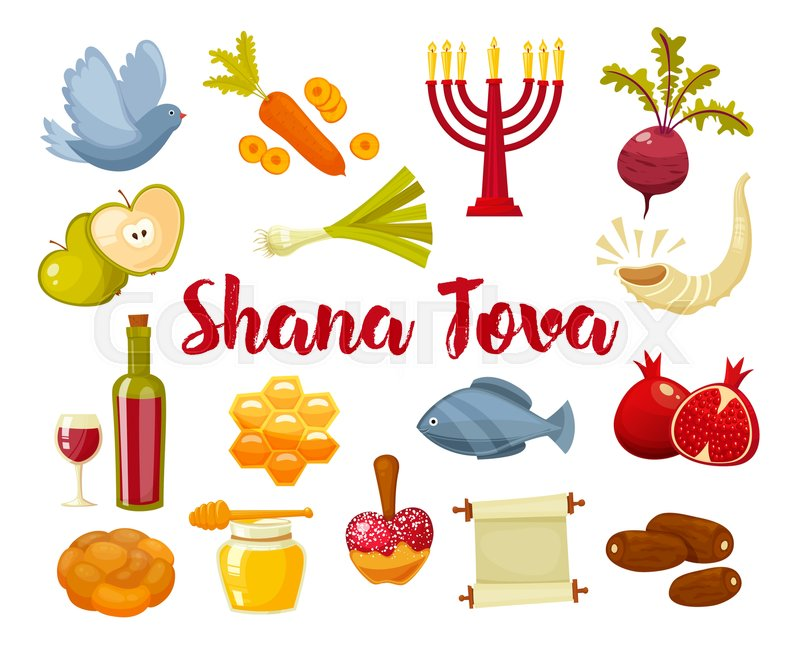 Rosh Hashanah Shana Tova Or Jewish New Year Cartoon Flat Vector