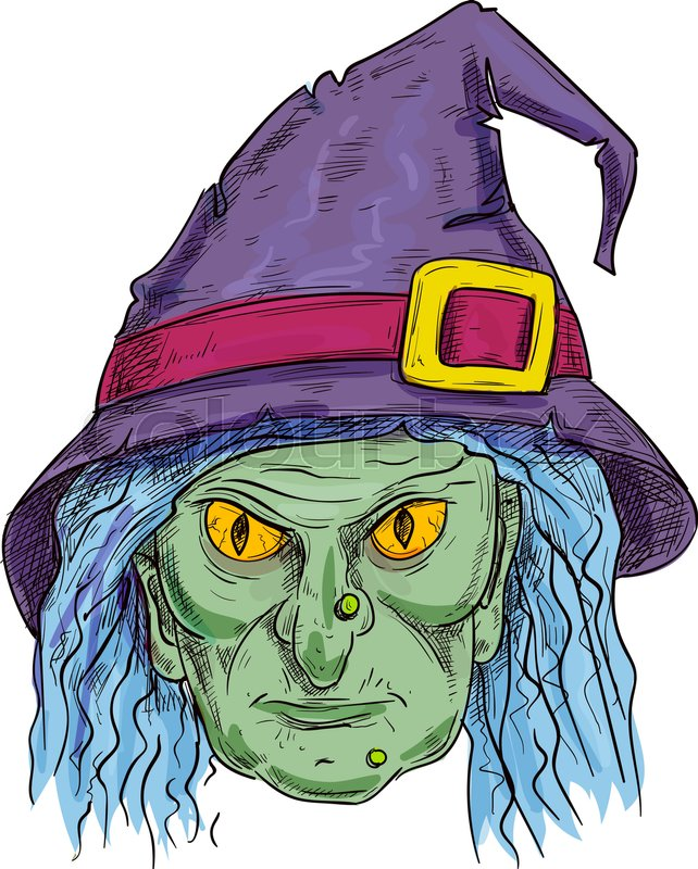 Halloween Cartoon Witch Face.Old Witch With Ugly Face In Purple Stock Vector Colourbox